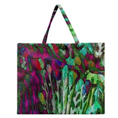 Bright Tropical Background Abstract Background That Has The Shape And Colors Of The Tropics Zipper Large Tote Bag by Nexatart