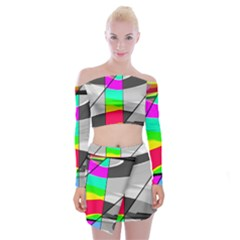 Colors Fadeout Paintwork Abstract Off Shoulder Top With Skirt Set