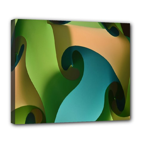 Ribbons Of Blue Aqua Green And Orange Woven Into A Curved Shape Form This Background Deluxe Canvas 24  X 20   by Nexatart