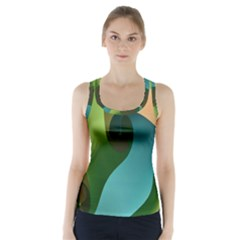 Ribbons Of Blue Aqua Green And Orange Woven Into A Curved Shape Form This Background Racer Back Sports Top by Nexatart