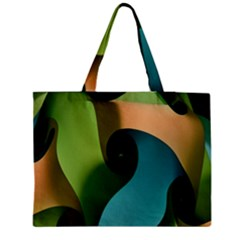 Ribbons Of Blue Aqua Green And Orange Woven Into A Curved Shape Form This Background Medium Tote Bag by Nexatart