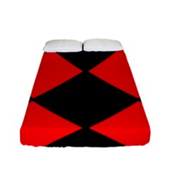 Red Black Square Pattern Fitted Sheet (full/ Double Size) by Nexatart
