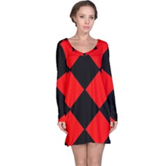 Red Black Square Pattern Long Sleeve Nightdress