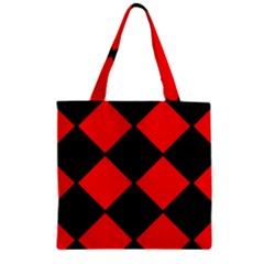 Red Black Square Pattern Zipper Grocery Tote Bag by Nexatart