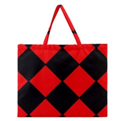 Red Black Square Pattern Zipper Large Tote Bag by Nexatart