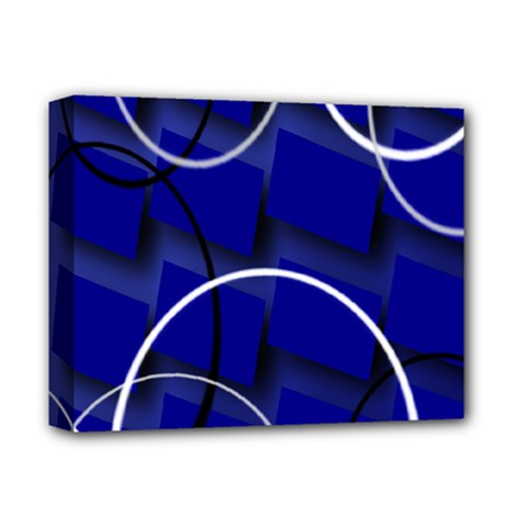 Blue Abstract Pattern Rings Abstract Deluxe Canvas 14  X 11  by Nexatart