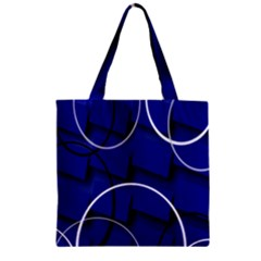 Blue Abstract Pattern Rings Abstract Zipper Grocery Tote Bag by Nexatart