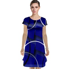 Blue Abstract Pattern Rings Abstract Cap Sleeve Nightdress by Nexatart