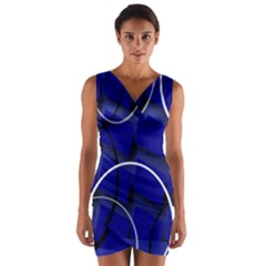 Blue Abstract Pattern Rings Abstract Wrap Front Bodycon Dress