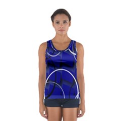 Blue Abstract Pattern Rings Abstract Women s Sport Tank Top