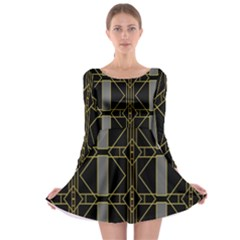 Simple Art Deco Style Art Pattern Long Sleeve Skater Dress