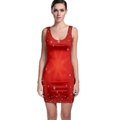 Red Holiday Background Red Abstract With Star Sleeveless Bodycon Dress
