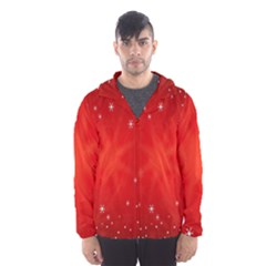 Red Holiday Background Red Abstract With Star Hooded Wind Breaker (men)