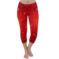 Red Holiday Background Red Abstract With Star Capri Winter Leggings  by Nexatart