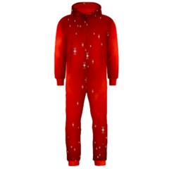 Red Holiday Background Red Abstract With Star Hooded Jumpsuit (men)