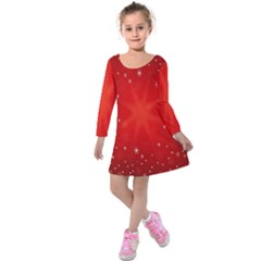 Red Holiday Background Red Abstract With Star Kids  Long Sleeve Velvet Dress