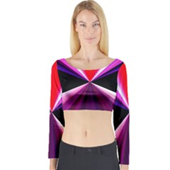 Red And Purple Triangles Abstract Pattern Background Long Sleeve Crop Top
