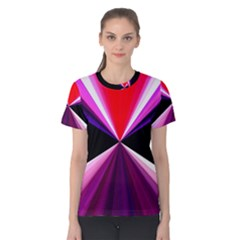Red And Purple Triangles Abstract Pattern Background Women s Cotton Tee