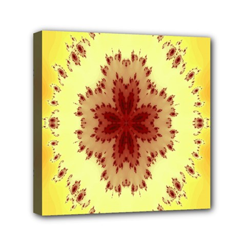 Yellow Digital Kaleidoskope Computer Graphic Mini Canvas 6  X 6