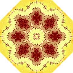 Yellow Digital Kaleidoskope Computer Graphic Folding Umbrellas by Nexatart