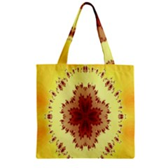 Yellow Digital Kaleidoskope Computer Graphic Zipper Grocery Tote Bag by Nexatart