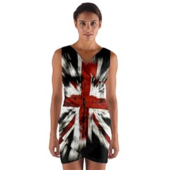 British Flag Wrap Front Bodycon Dress