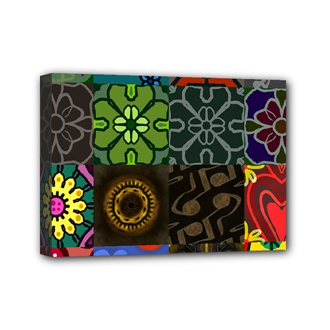 Digitally Created Abstract Patchwork Collage Pattern Mini Canvas 7  X 5  by Nexatart