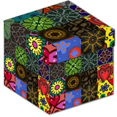 Digitally Created Abstract Patchwork Collage Pattern Storage Stool 12   by Nexatart