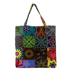 Digitally Created Abstract Patchwork Collage Pattern Grocery Tote Bag by Nexatart