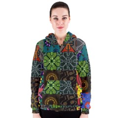 Digitally Created Abstract Patchwork Collage Pattern Women s Zipper Hoodie by Nexatart