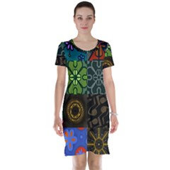 Digitally Created Abstract Patchwork Collage Pattern Short Sleeve Nightdress by Nexatart