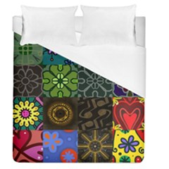 Digitally Created Abstract Patchwork Collage Pattern Duvet Cover (queen Size) by Nexatart