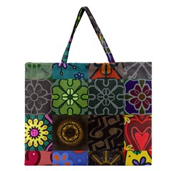 Digitally Created Abstract Patchwork Collage Pattern Zipper Large Tote Bag by Nexatart