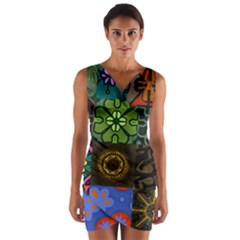 Digitally Created Abstract Patchwork Collage Pattern Wrap Front Bodycon Dress