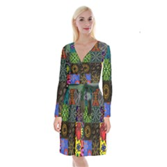 Digitally Created Abstract Patchwork Collage Pattern Long Sleeve Velvet Front Wrap Dress