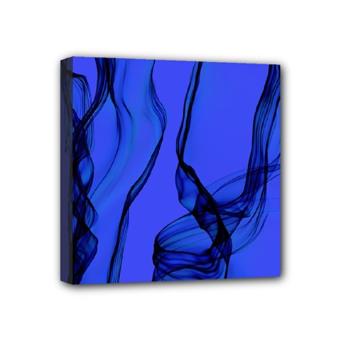 Blue Velvet Ribbon Background Mini Canvas 4  X 4  by Nexatart