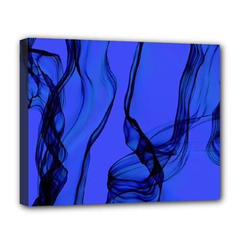 Blue Velvet Ribbon Background Deluxe Canvas 20  X 16   by Nexatart