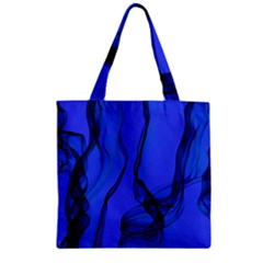 Blue Velvet Ribbon Background Zipper Grocery Tote Bag by Nexatart