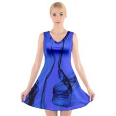 Blue Velvet Ribbon Background V Neck Sleeveless Skater Dress