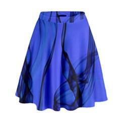 Blue Velvet Ribbon Background High Waist Skirt by Nexatart