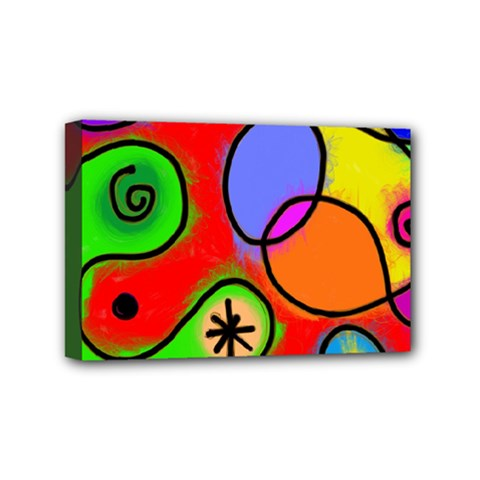 Digitally Painted Patchwork Shapes With Bold Colours Mini Canvas 6  X 4