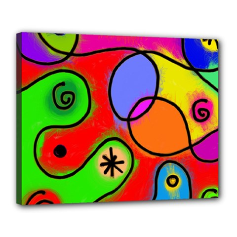 Digitally Painted Patchwork Shapes With Bold Colours Canvas 20  X 16