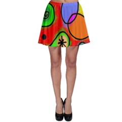 Digitally Painted Patchwork Shapes With Bold Colours Skater Skirt