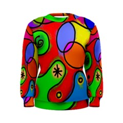 Digitally Painted Patchwork Shapes With Bold Colours Women s Sweatshirt