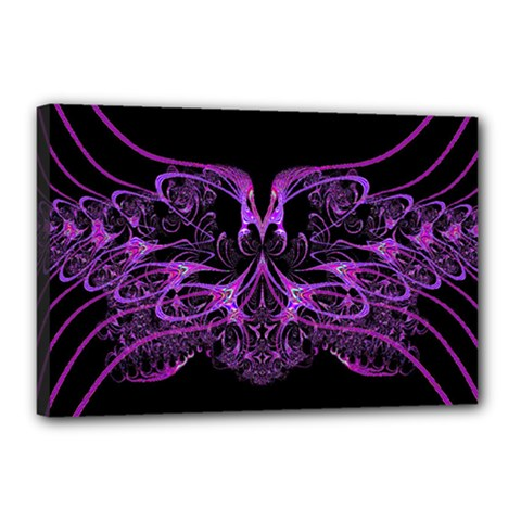 Beautiful Pink Lovely Image In Pink On Black Canvas 18  X 12  by Nexatart