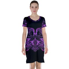 Beautiful Pink Lovely Image In Pink On Black Short Sleeve Nightdress by Nexatart