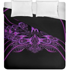 Beautiful Pink Lovely Image In Pink On Black Duvet Cover Double Side (king Size) by Nexatart