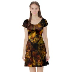 Autumn Colors In An Abstract Seamless Background Short Sleeve Skater Dress