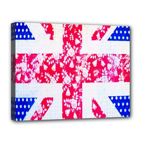 British Flag Abstract British Union Jack Flag In Abstract Design With Flowers Canvas 14  X 11  by Nexatart