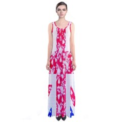 British Flag Abstract British Union Jack Flag In Abstract Design With Flowers Sleeveless Maxi Dress